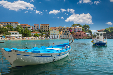kefallonia: Assos on the Island of Kefalonia in Greece. View of beautiful bay of Assos village, Kefalonia island, Greece