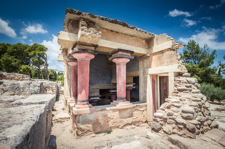 minoan: Knossos palace, Crete island, Greece. Detail of ancient ruins of famous Minoan palace of Knossos.