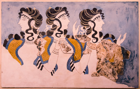 Ladies in Blue fresco at Knossos Palace, minoan archaeological site in Crete, Greece