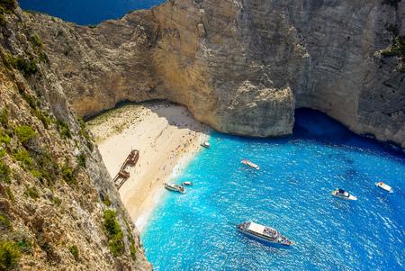 ionian: Navagio beach, Zakynthos island in Greece. Shipwreck is one of the most beautiful Greek beaches. Stock Photo