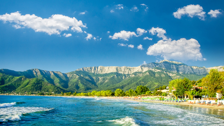 Psili Ammos beach, Thassos island, Greece. It is known as Golden beach. It is situated between Skala Panagia and Skala Potamia.v Zdjęcie Seryjne