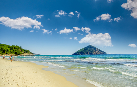 Beautiful Paradise beach, Thassos island, Greece. Probably the most beautiful Greek beaches. Stock Photo