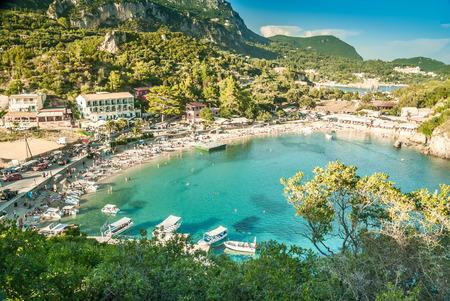 paleokastritsa: Beautiful bay of Paleokastritsa. Corfu island, Greece