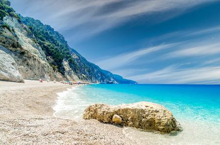 ionio: Egremni beach, Lefkada island, Greece. Large and long beach with turquoise water.