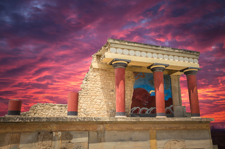 Stunning sunset over Knossos palace, Crete island, Greece. Detail of ancient ruins of famous Minoan palace of Knossos. Reklamní fotografie - 69913311