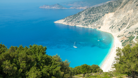 Myrtos beach, Kefalonia island, Greece. Beautiful view of Myrtos bay and beach on Kefalonia island Stock Photo