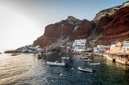 Amoudi, Santorini island, Greece. Amoudi bay is located below Oia village. Boats and taverns near the water. Editorial