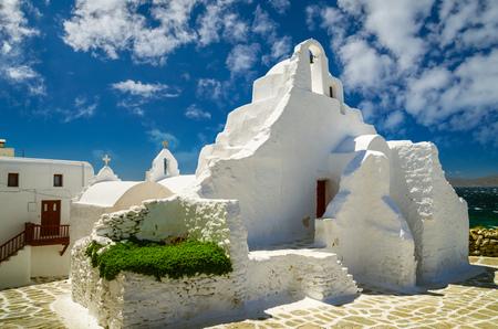 Mykonos island, Cyclades, Greece. Panagia Paraportiani Church in Mykonos. A beautiful old white chapel.