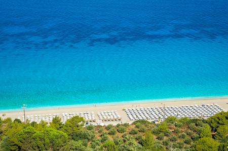 Kathisma Beach, Lefkada Island, Greece. Kathisma Beach is one of the best beaches in Lefkada Island in Ionian Sea Stock Photo