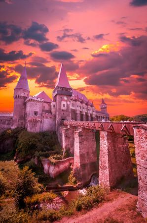 Corvin Castle, Hunedoara, Transylvania, Romania. Hunyad Castle was laid out in 1446. Castelul Huniazilor in Romania. Editorial