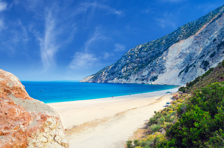 Myrtos beach, Kefalonia island, Greece. Beautiful view of Myrtos bay and beach on Kefalonia island Imagens