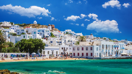 MYKONOS, GREECE - JULY 4, 2017:  Beautiful view of Mykonos town in Cyclades Islands. There are white houses and boats in the old harbor. Editorial