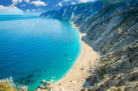 Famous Platia Ammos beach in Kefalonia island, Greece.