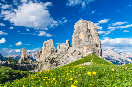 Cinque Torri, Dolomiti Alps, Italy. The Five Pillars in Dolomites mountains, Alto Adige, South Tyrol