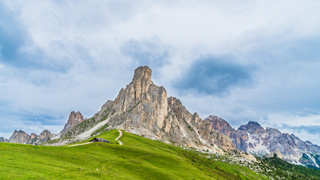 Nuvolau massif in Dolomiti, Italy. View from Passo Giau over mount Ra Gusela, South Tirol, dolomites mountains, Alto Adige