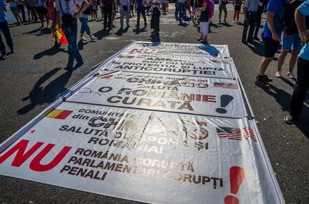 Bucharest, Romania - August 10, 2018: Anti-government protesters in Bucharest, Romania.