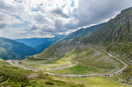 Transfagarasan alpine road in Romania. Transfagarasan is one of the most famous mountain roads in the world. Stock Photo
