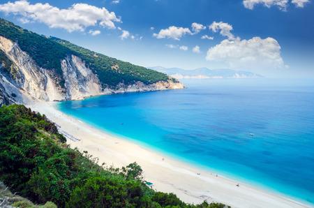 Myrtos beach, Kefalonia island, Greece. Beautiful view of Myrtos bay and beach on Kefalonia island 版權商用圖片