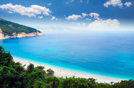 Myrtos beach, Kefalonia island, Greece. Beautiful view of Myrtos bay and beach on Kefalonia island Фото со стока