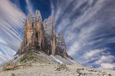 Tre Cime di Lavaredo National Park. Drei Zinnen, Trentino Alto Adige, South Tyrol, Dolomites mountains, Italy