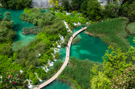 Plitvice National Park, Croatia, Europe. Amazing view over the lakes and waterfalls surrounded by forest.