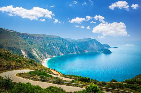 Petani beach, Kefalonia island, Greece. Stunning view of Petani bay in Greek island of Cephalonia. 版權商用圖片