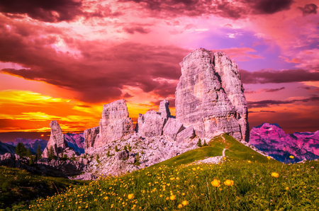 Stunning sunset over Cinque Torri, Italian Dolomites. The Five Pillars in Dolomites mountains, Alto Adige, South Tyrol, Italy