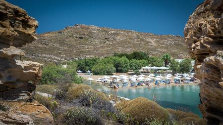 Monastiri beach in Paros island, Greece. Beautiful and famous beach of Monastery Agios Ioannis, Cyclades