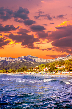 Stunning sunset at Psili Ammos beach, Thassos island, Greece. It is known as Golden beach. It is situated between Skala Panagia and Skala Potamia.