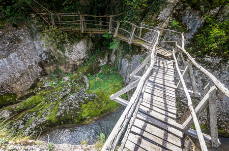 Emen Canyon, Bulgaria. Wood bridge over the river into a luxuriant forest Reklamní fotografie - 126304401