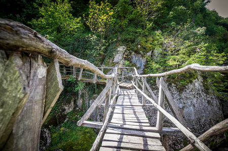 Emen Canyon, Bulgaria. Wood bridge over the river into a luxuriant forest Stockfoto