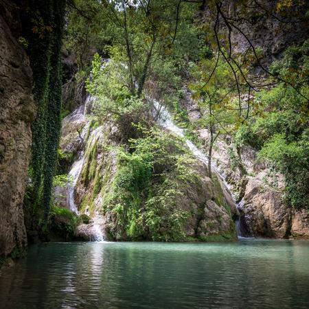 Kaya Bunar Waterfall, Bulgaria. It is located in Hotnitsa Canyon on Bohot river