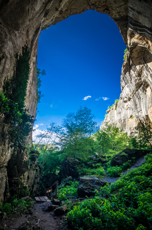 Prohodna cave, Bulgaria. It is nown as Gods eyes. Located near Karlukovo village Stockfoto