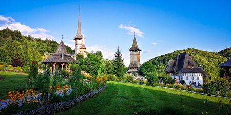 Unidentified tourists visiting Barsana monastery on August 16, 2019. Maramures area, Romania Zdjęcie Seryjne - 138479550