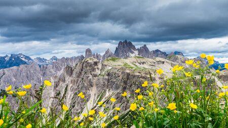 Beautiful view over the Dolomiti from Tre Cime di Lavaredo, Italia Фото со стока