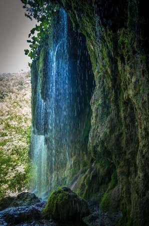 Travertine waterfalls, Transylvania, Romania. Waterfall of Sipote in Trascau mountains, Apuseni Carpathians