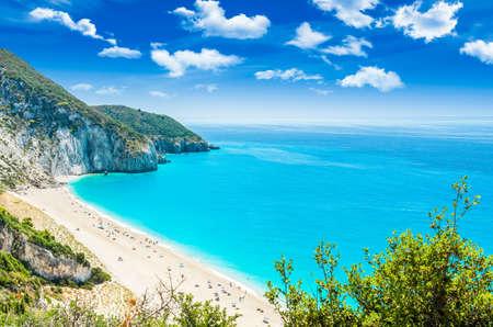 Milos beach on Lefkada island, Greece. Milos beach near the Agios Nikitas village on Lefkada, Greece Standard-Bild