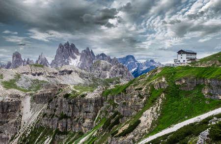 Cadini and Marmarole mountains, Rifugio Auronzo, Italia. Beautiful view over the Dolomites, Tre Cime di Lavaredo area, Italy