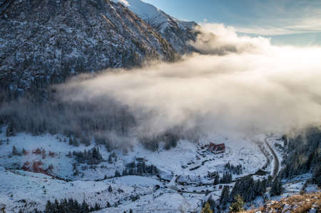 Capra chalet in Fagaras mountains in winter. The ridge of the mountain full of snow. There are one of the beautiful road in the world, Transfagarasan Stock fotó