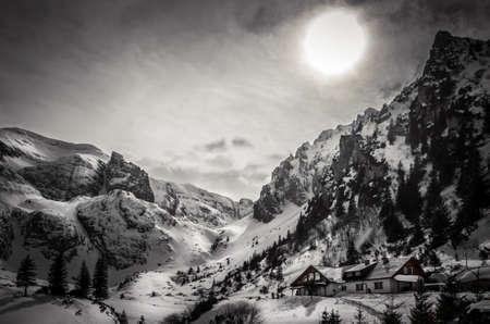 Malaiesti chalet in winter. Beautiful view of Malaesti valley in Bucegi mountains, Carpathians Alps, Romania