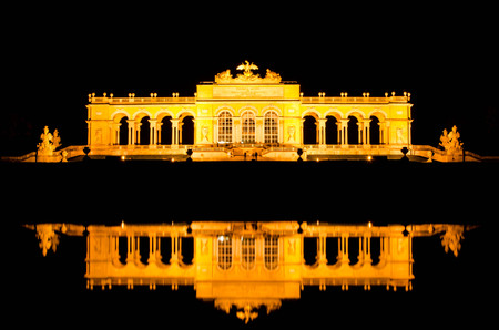 Gloriette reflection at Schonbrunn Palace in Vienna, Austria. Editorial