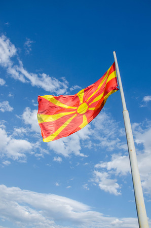 Macedonian flag waving in the blue sky