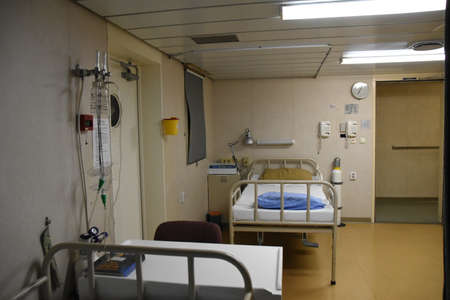 Hospital on the ship with two beds inside the superstructure of the merchant container vessel. Used for treatment of the crew in emergency cases.