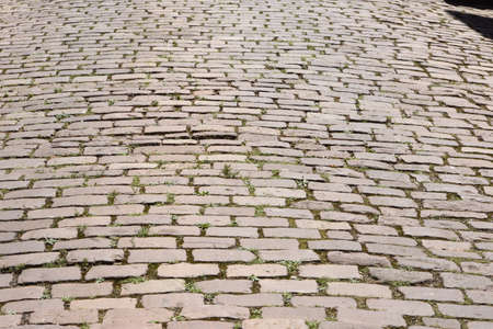 Cobblestone with green grass sprouting in Colmar, texture, France during summer time.