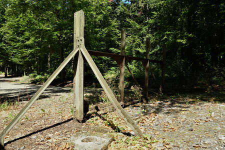 Metal entrance gate in the wood, giving access to the ground of Fortress Schoenenbourg on the Maginot line in France.