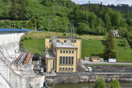 View on dam and powerhouse of hydroelectric power plant Orava, Slovakia which is located by the first large retention reservoir in the river Váh.