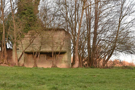 Front view on old concrete pillbox bunker or fallout shelter among trees that was made to prepare Switzerland for war or to protect the Swiss people from potential onset of war and nuclear devastation Éditoriale