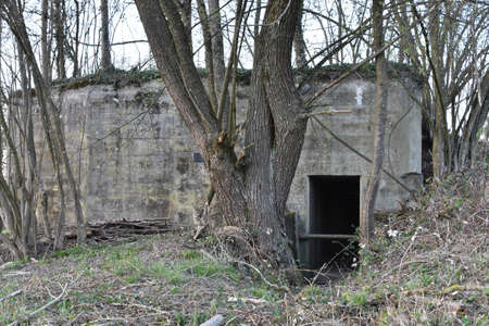 Entrance to old concrete pillbox bunker or fallout shelter among trees that was made to prepare Switzerland for war or to protect the Swiss people from potential onset of war and nuclear devastation.