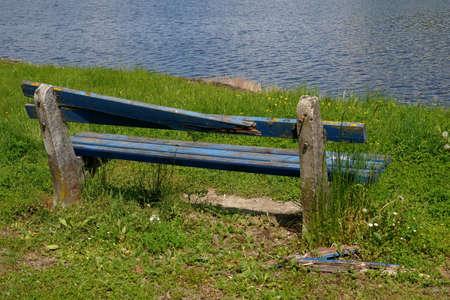 Broken bench on the coast Orava water reservoir in Slovakia.