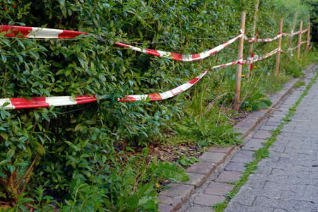 Park area surrounded with red and white barrier tape around a hedge.